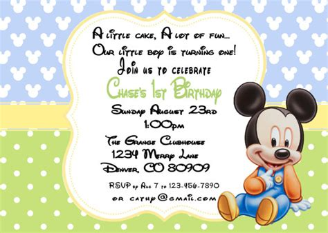 baby mickey mouse invitation template mickey mouse baby birthday invitations by a sweet