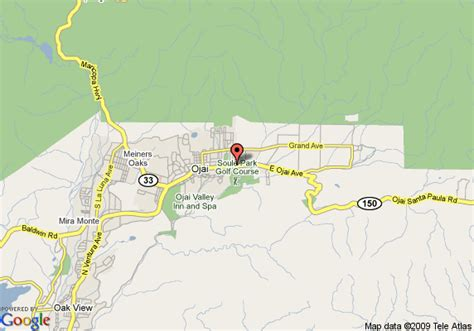 where is ojai california on a map map of hotel ojai