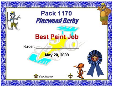 pinewood derby certificate templates pinewood derby certificate cake ideas and designs