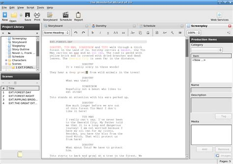 lesser known applications for linux screenwriting