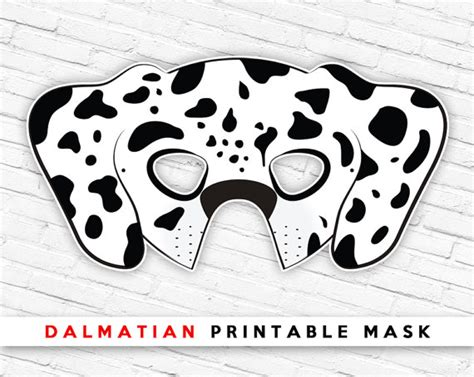 printable puppy mask dalmatian printable dog mask spotted dog mask printable