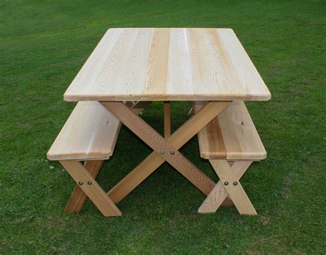 picnic tables and benches 42 quot wide red cedar cross legged picnic table w benches