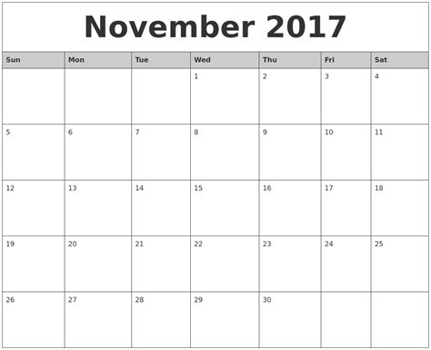 Calendar This Month November 2017 Monthly Calendar Printable