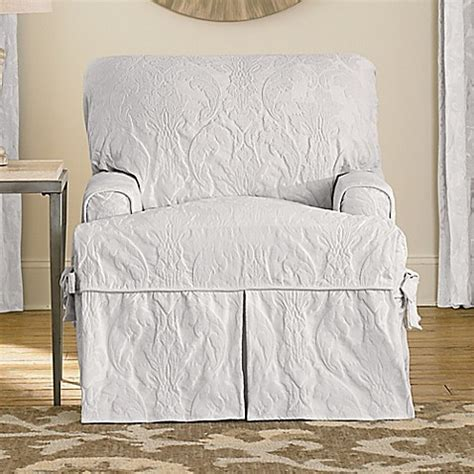 white sure fit slipcovers buy sure fit 174 matelasse damask t cushion chair slipcover