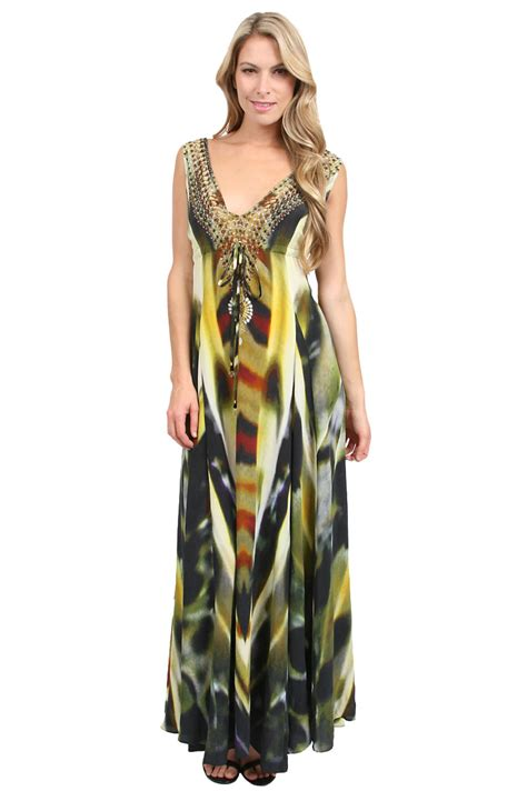 camilla voodoo drawstring dress in green print lyst