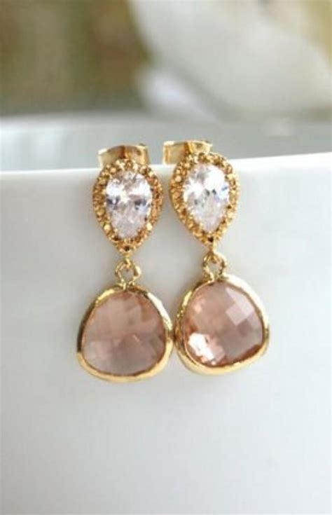 ohrringe vintage hochzeit a gold plated chagne drop jewels earrings