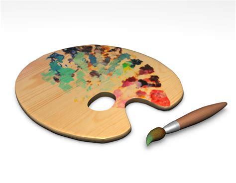 paint brush color plate 3d model sharecg