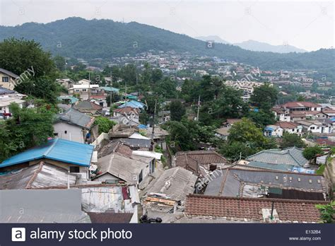 Rural Houses In A Suburb Of Seoul In South Korea With Mountains Stock Photo Royalty