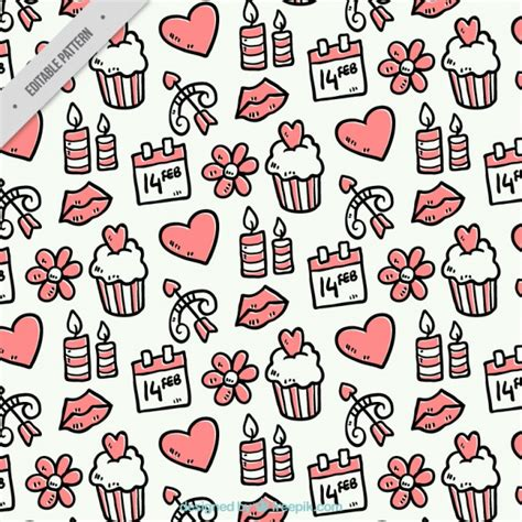 svg pattern object hand drawn pattern with valentine s objects vector free