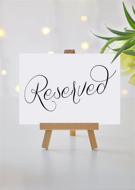reserved signs for wedding tables reserved signs for wedding reserved table sign