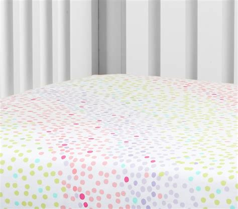 organic rainbow multi dot crib fitted sheet pottery barn
