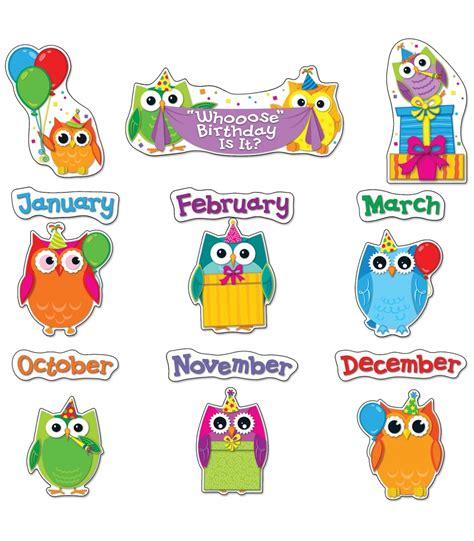 printable owl birthday chart colorful owls birthday bulletin board set teachers bazaar