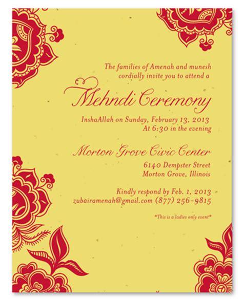 mehndi ceremony invitations on plantable paper holi by