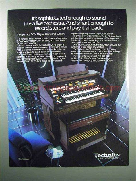 Electronic Organ Hello 1985 technics pcm digital electronic organ ad