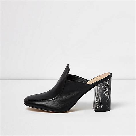 black closed toe marble heel mules shoes shoes boots