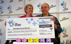 Break Letter Wife Wins Lottery david and carol martin from hawick in the scottish borders celebrate