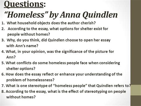 Quindlen Essays by Essay About Homeless