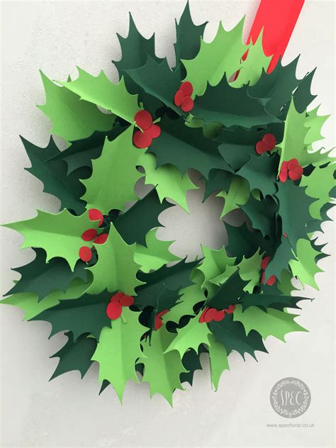 printable paper holly wreath diy paper holly wreath papermilldirect