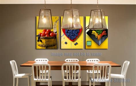 agréable Poster Cuisine Moderne #1: Yellow-Modern-Abstract-Canvas-Art-Painting-PRINT-Fruits-Food-Pictures-Poster-3-Piece-for-Dining-Room.jpg