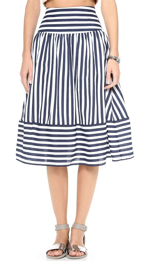Navy Stripes Skirt joa striped skirt navy stripe in blue navy stripe lyst