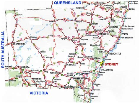 printable nsw road map new south wales road map nsw
