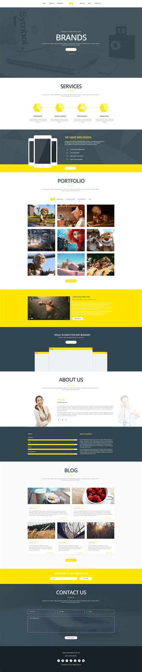 free webpage templates 35 free single page website template psd creativecrunk