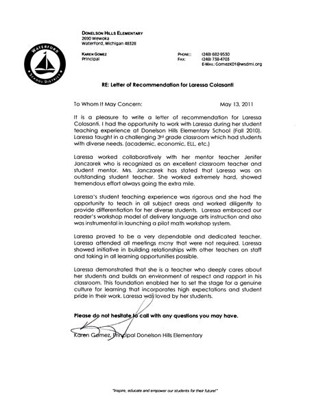 Letter Of Recommendation From College Principal Letter Of Recommendation For Principal Free Resumes Tips