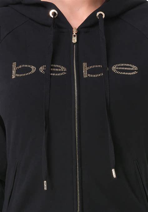 Sweater Hoodie Junk182 Front Logo bebe logo front zip hoodie in black lyst