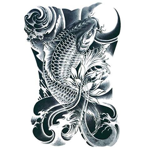 temporary tattoo koi fish tafly men s black koi carp fish arm leg tattoo temporary