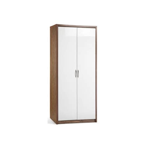 Wardrobe Door Fronts by Mylan Walnut Finish 2 Door Wardrobe With White High Gloss