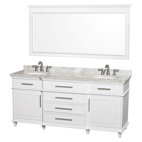 White Bathroom Vanity With Marble Top by Shop Wyndham Collection Berkeley White Undermount