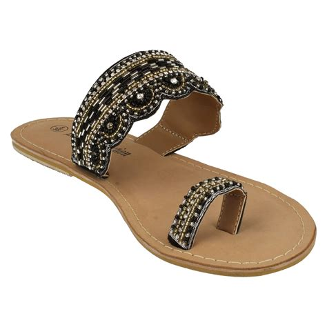 spot on leather collection beaded toe mule sandals