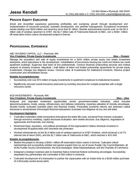 venture capital resume sle 28 images model resume sle