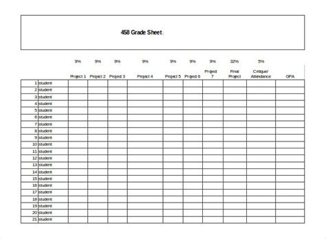 grade sheet template grade sheet template 32 free word excel pdf documents