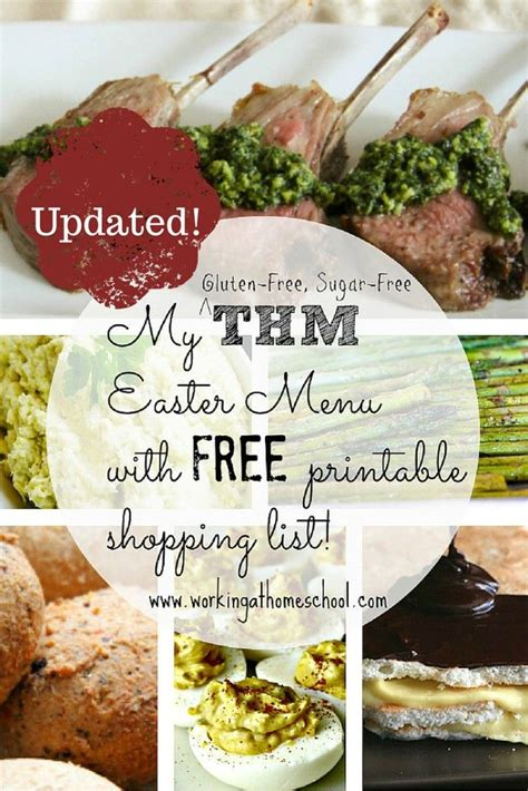 printable thm recipes low carb easter dinner with printable shopping list thm