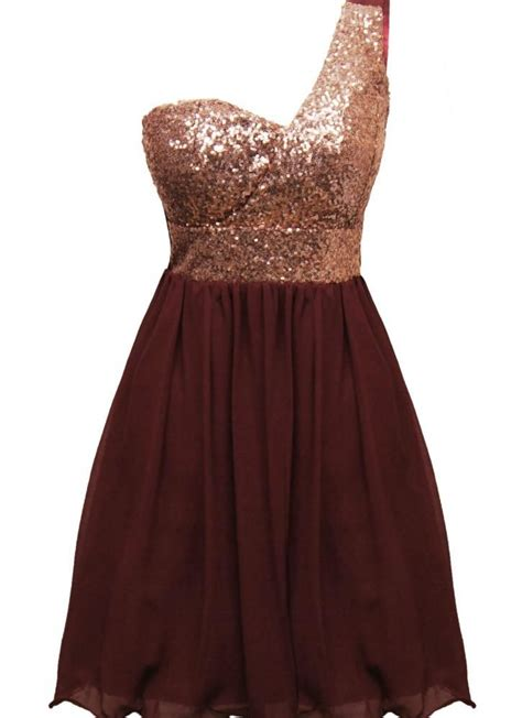 Color Dress wine color one shoulder dress with sequin top chiffon skirt