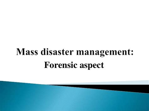 Mba Emergency Management by Mass Disaster Management
