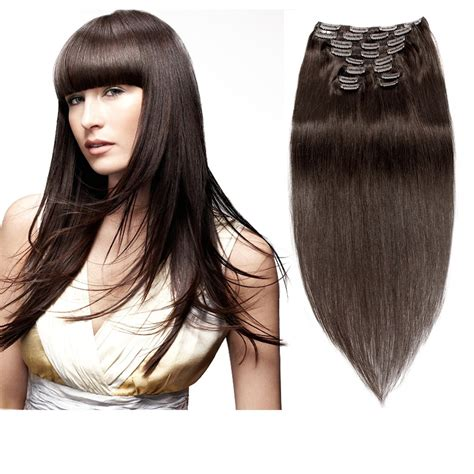 usa clearance sales clip in hair extensions 3 4 remy clip in hair extensions darkest brown