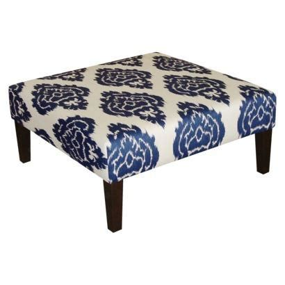 blue ikat ottoman kristine upholstered ottoman diamond blue target