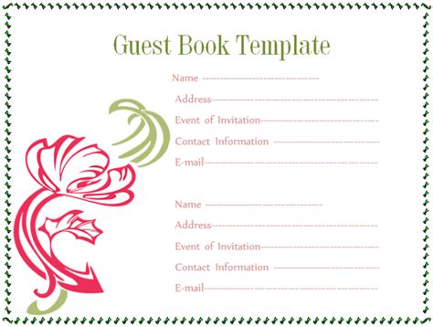 guest sign in book template guest book template microsoft word templates