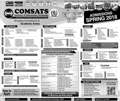 Comsats Mba by Admission Open In Comsats Institute Of Information