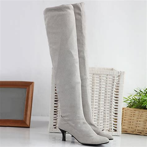 Flock Thigh High Boots Gray wholesale flock kitten heel toe thigh boots in light