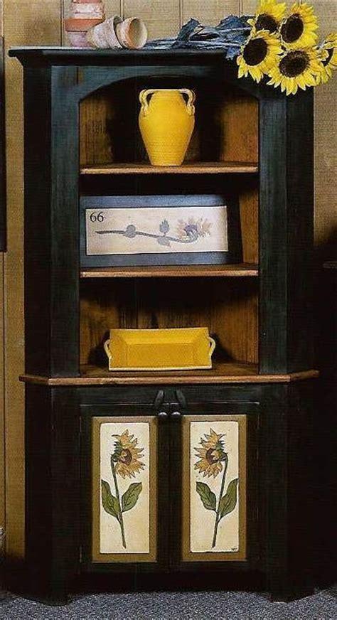 Primitive Dining Room Cabinets Amish Rustic Hickory Corner Hutch Vintage Style Shelves