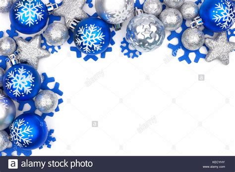 christmas corner border of blue and silver ornaments