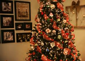 Christmas tree decorations with ribbons on decor with christmas tree