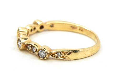 stackable 14k yellow gold diamonds wedding ring