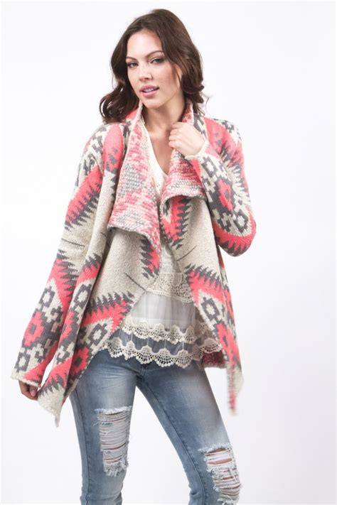 pink pattern cardigan gray and pink aztec pattern loose fitting drape cardigan