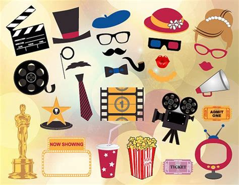 free printable movie themed photo booth props printable movie photo booth props movie night photo booth
