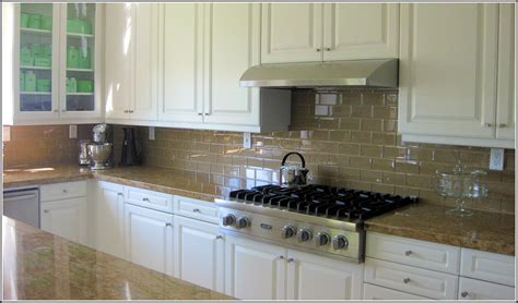 Subway Kitchen Backsplash Glass Subway Tile Backsplash White Cabinets Tiles Home