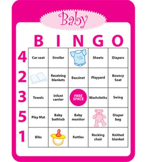 baby bingo template printable baby shower ideas